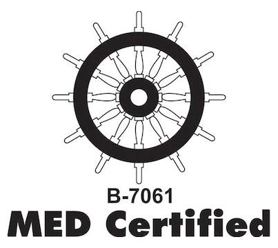 Afbeelding MED keurmerk scheepvaart. MED staat voor: Marine Equipment Directive.